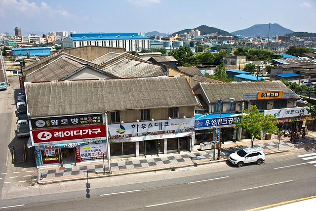 Colonial and post-liberation buildings near railway, Mokpo, South Korea