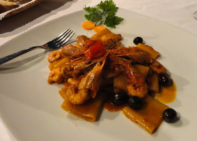 Paccheri with shrimp and olives, Ristorante Alberto, Ischia