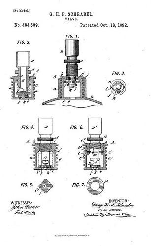 Schrader Valve Patent (1892)