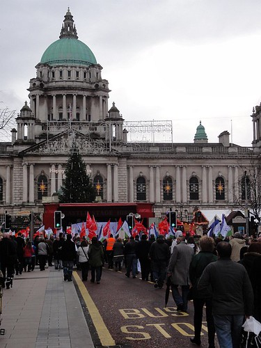 Crowd gathers at Belfast City Hall