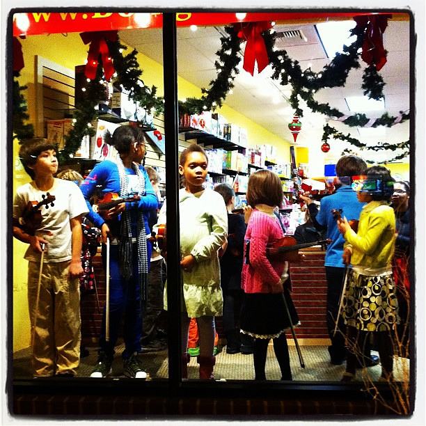 Violin Kids in Toy Store Window