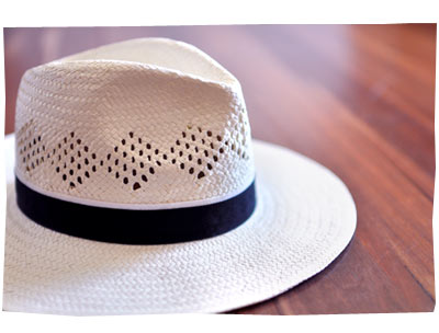 White and Black fedora hat