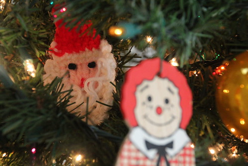 Crocheted Santa and Raggedy Andy