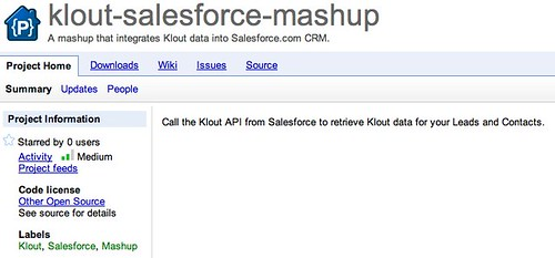 klout-salesforce-mashup - A mashup that integrates Klout data into Salesforce.com CRM. - Google Project Hosting