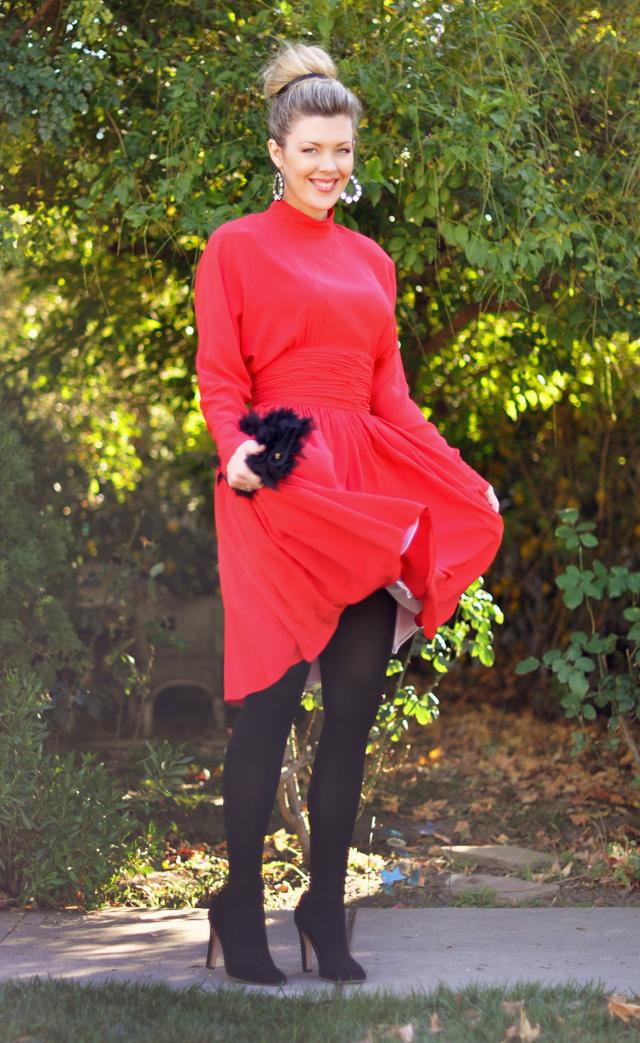 vintage red dress-karl lagerfeld dress-red and black