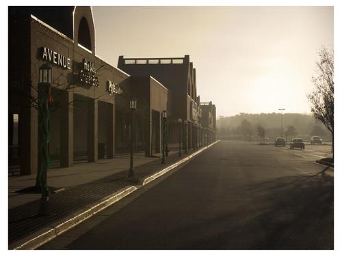 fog sunrise shopping parking lot center southdale
