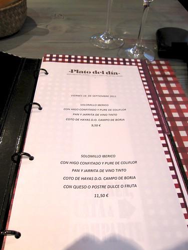 Carta de platos Un Señor de Bilbao