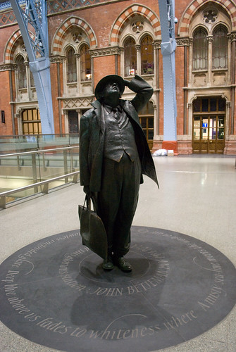 Sir John Betjeman at St Pancras station