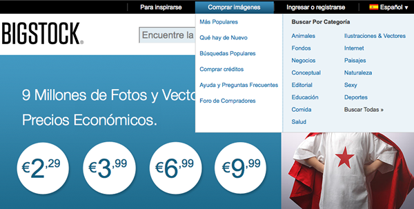 Captura del sitioweb de BigStock