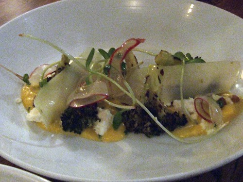 Scrambled egg, broccoli, goat feta, pine nuts