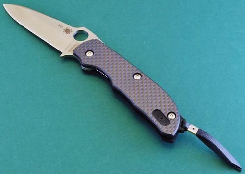 "Spyderco C131CFP Terzuola Folding Knife 3"" S30V Plain Blade, Carbon Fiber Handles"