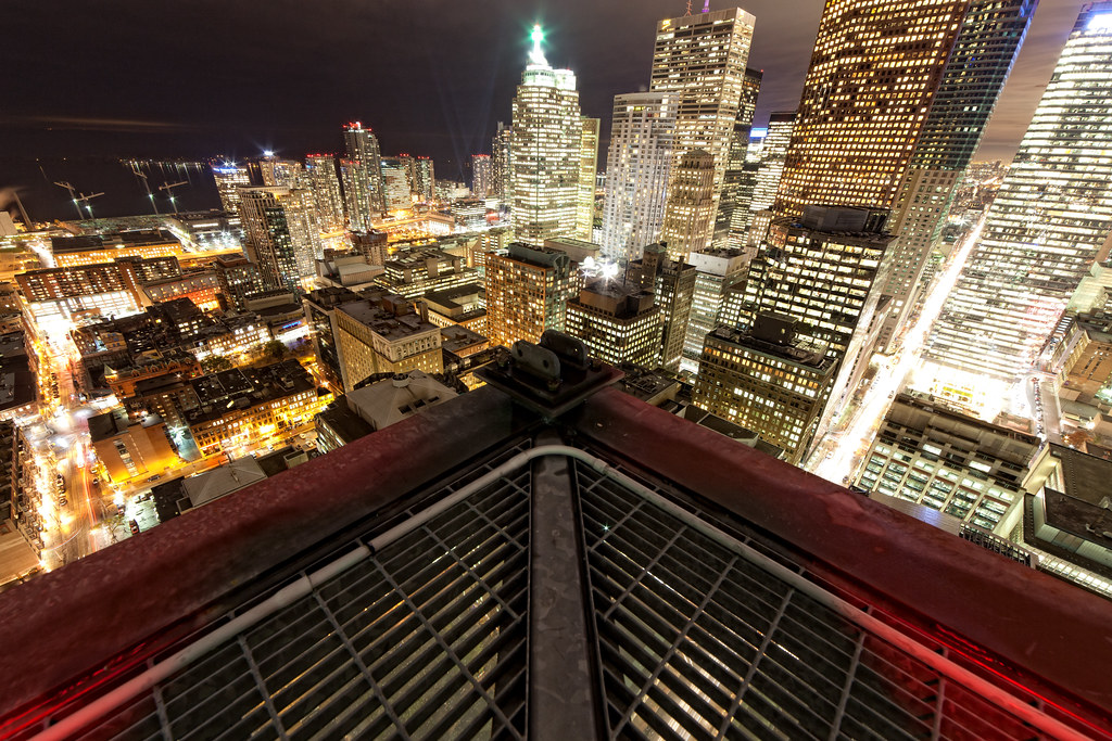 corner of rooftop in downtown toronto at night