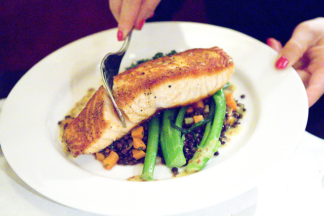 Salmon, Broccolini, black lentils