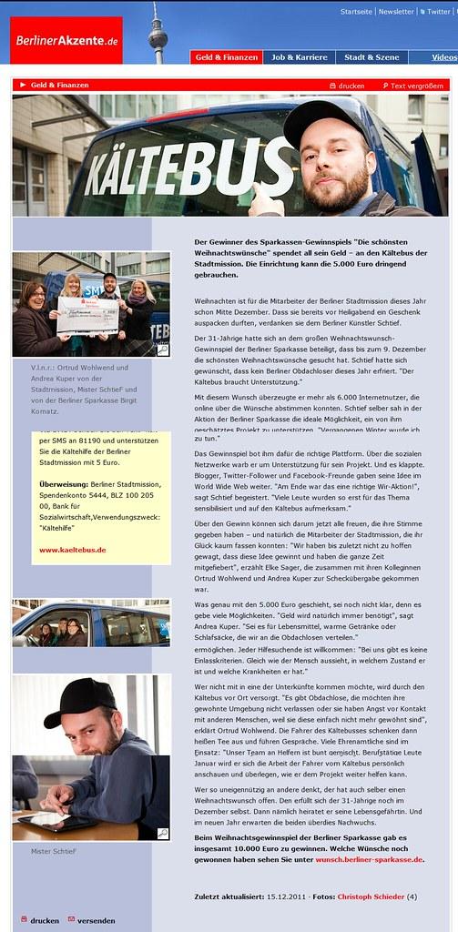 Berliner Akzente Online - Gewinner Privatkredit-Wünsche  5.000 Euro gehen an den Kältebus