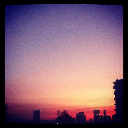 Vivid, reddish Bangkok sunset this evening.