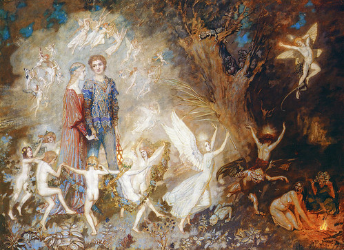 "John Duncan (Scottish, 1866-1945), ""Yorinda and Yoringel in the Witch's Wood"""