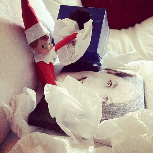 Maggie went to a sleepover last night. Buddy isn't taking it too well. #elfontheshelf