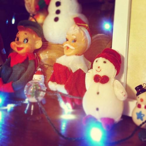 Santa and elf and snowman.