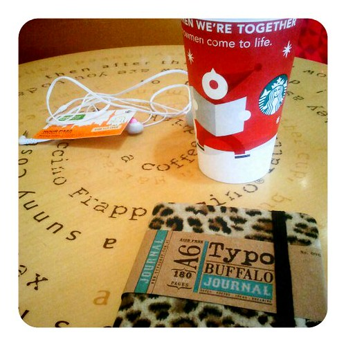 Wednesday morning at starbucks with a notebook and my laptop