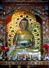 Buddha statue in a gold robe, holding a begging bowl, ornate halo, flowers, and other offerings, Tibetan lamas in photos, wood and glass case with dragons, in the Tibetan style in Lumbini where Buddha was born, Southern Nepal, 1990, pilgrimage