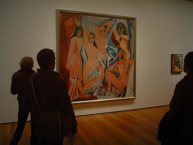 Photo du tableau « Les Demoiselles d'Avignon », Huile sur toile par Pablo Picasso, exposée au MoMA, New York, USA<br />