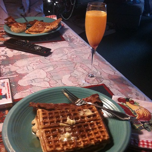 Waffles and mimosas