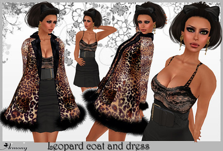 Armony Rig13 Leopard coat and dress, 440 lindens by Cherokeeh Asteria