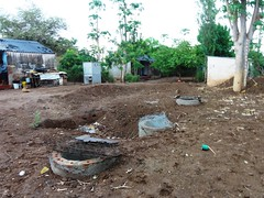 Biogas dome covered by soil