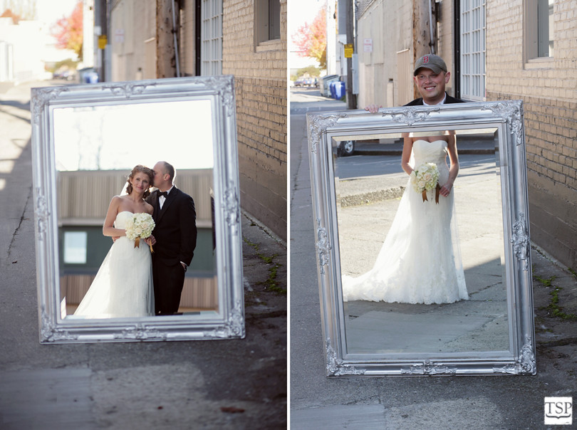 Bride and Groom in Alley with Mirror