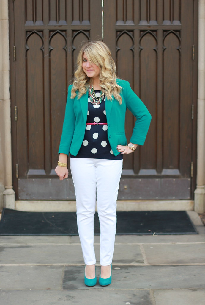Old Navy Polka Dot Sweater layered outfit