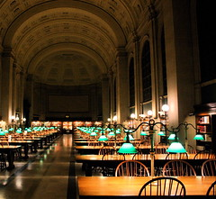 boston public library reading room empty