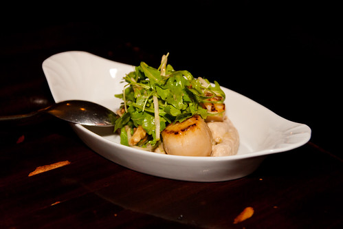 Sea Scallops, Foie Gras, Celery Root Skordalia, Arugula at Beast