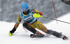 Mike Janyk skied to a seventh-place finish in the Adelboden, Switzerland men's slalom.