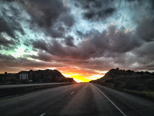 road sunset sky clouds highway ontheroad i40 iphone4s