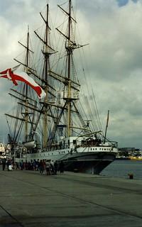 Sailing ship Dar Pomorza, Gdynia Harbour,  1995