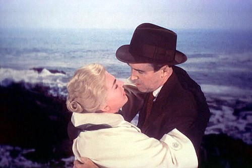 Kim Novak and James Stewart in a scene from Vertigo