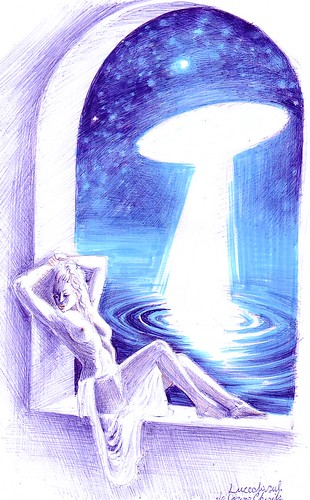 Luceafarul si fata de imparat, desen inspirat din poezia lui Mihai Eminescu