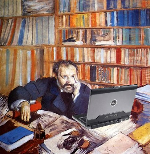Portrait of Duranty Blogging, after Degas
