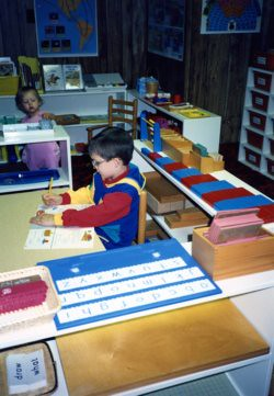 Our Montessori Homeschool Classroom, Will 6 1/2, Christina 1 1/2, 1991