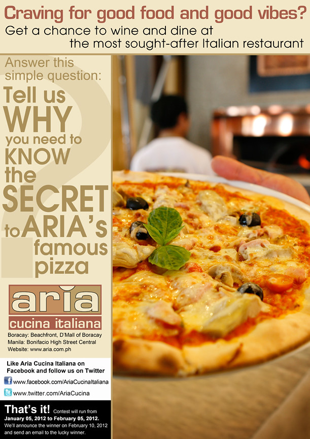 THE PHILIPPINES AND BEYOND: Aria Cucina Italiana\'s Free Trip to Boracay