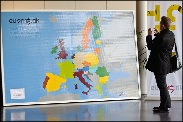 A European Union map composed entirely of Lego bricks
