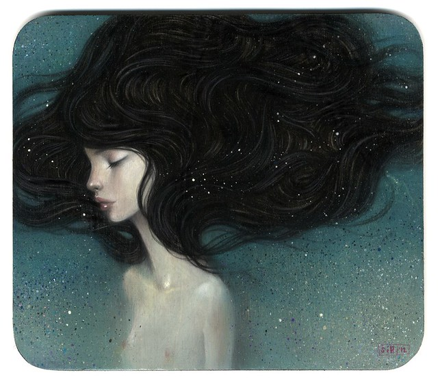 "Wanderer. 8""x7"". Watercolor, Acrylic, & Colored Pencil on Birch. © 2012."
