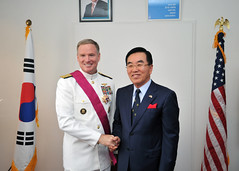 HONOLULU (Jan. 18, 2012) Adm. Patrick Walsh, commander of U.S. Pacific Fleet, and Republic of Korea Consul General Young-kil Suh shake hands following a ceremony during which Walsh received the Tong-il (unification) medal at the Republic of Korea Consulate. (U.S. Navy photo by Mass Communication Specialist 2nd Class David Kolmel)