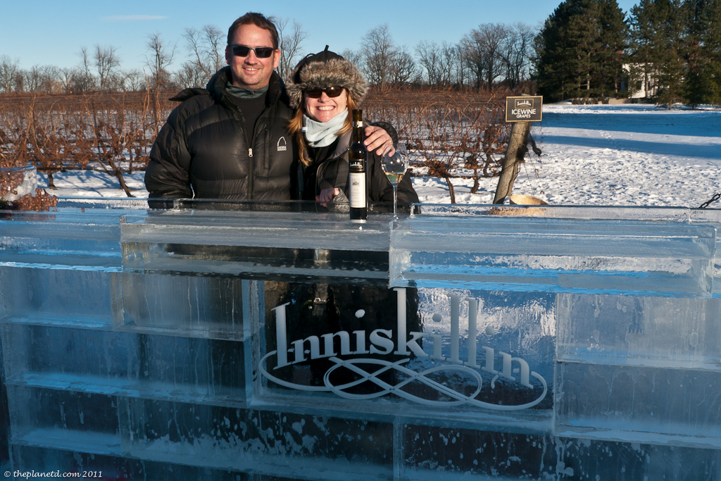 ice sculpture at niagara winery
