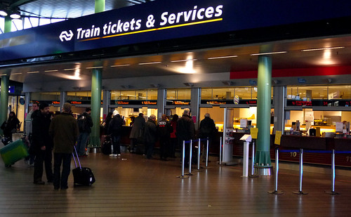 The Train Ticket Window at Schiphol Airport