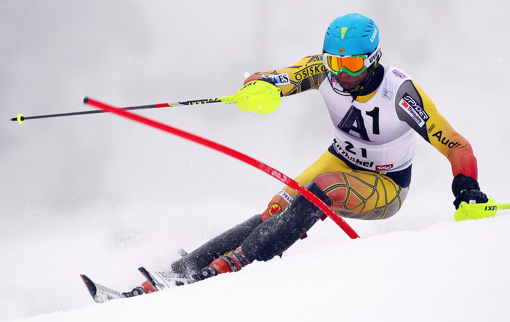 Mike Janyk skis in the slalom in Kitzbühel, Austria.