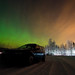 Northern lights, car lights and light pollution.