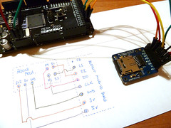 Connections for arduino mega to adafruit micro SD breakout board.