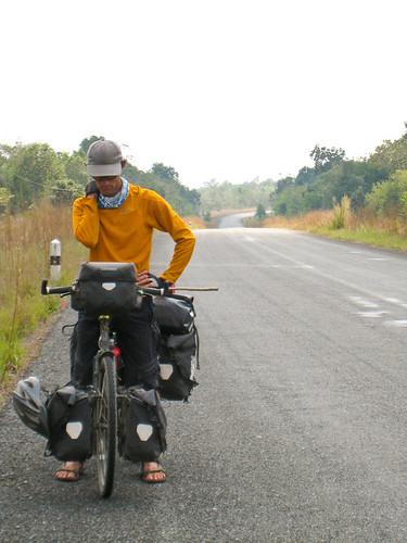 Justin cycling towards Koh Kong