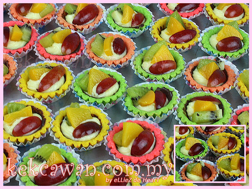 Fruit tart with colourful tart shell